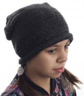 Однотонная темно-серая шапка для юных модниц