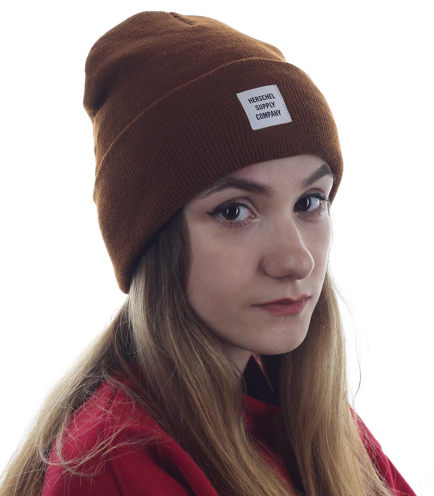Однотонная шапка Herschel для стильных девушек. Модель, популярная всегда