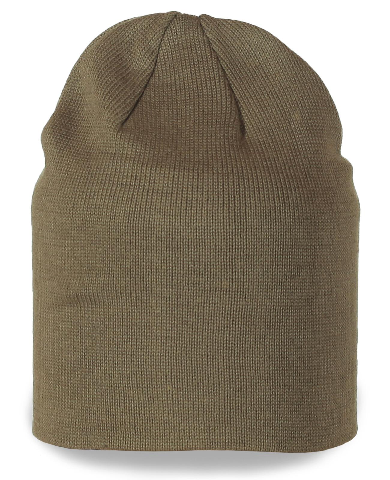 Однотонная шапка цвета хаки
