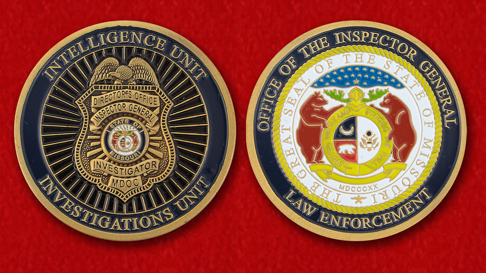 The Inspector General Enforcement Missouri Challenge Coin - obverse and reverse