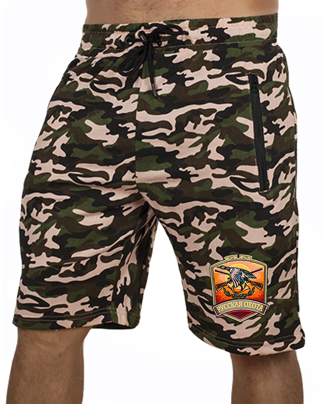 Купить охотничьи шорты свободного фасона с нашивкой Русская Охота оптом выгодно