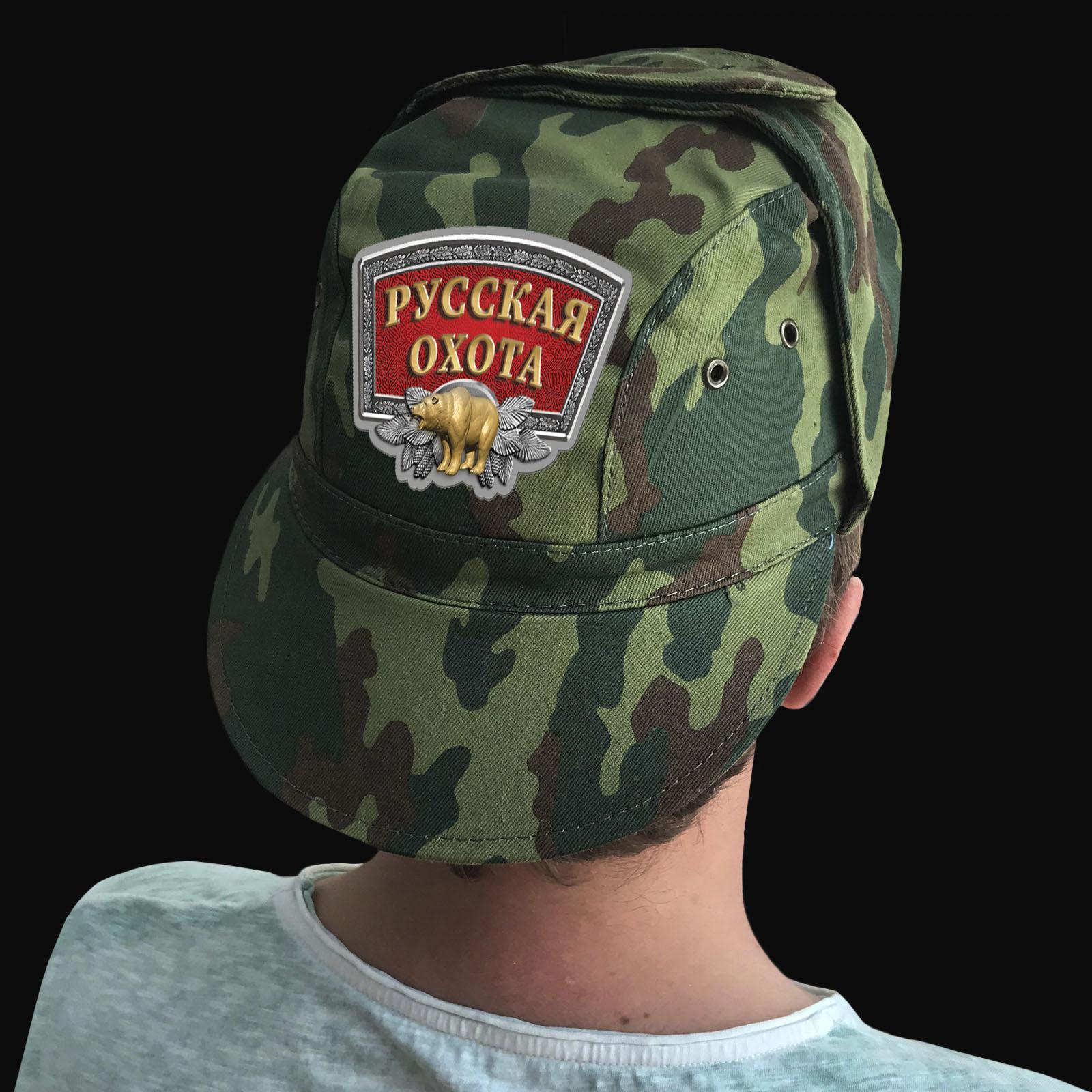 Купить охотничью кепку-камуфляж с термотрансфером Русская Охота по низкой цене
