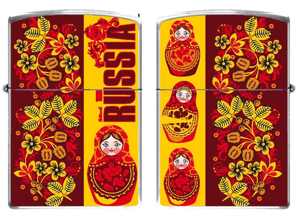 Зажигалка бензиновая RUSSIA «Матрёшки»