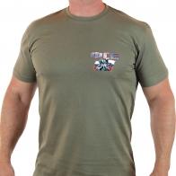 Оливковая мужская футболка с принтом ФСБ.