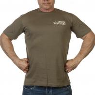 Оливковая футболка Армия России с вышивкой
