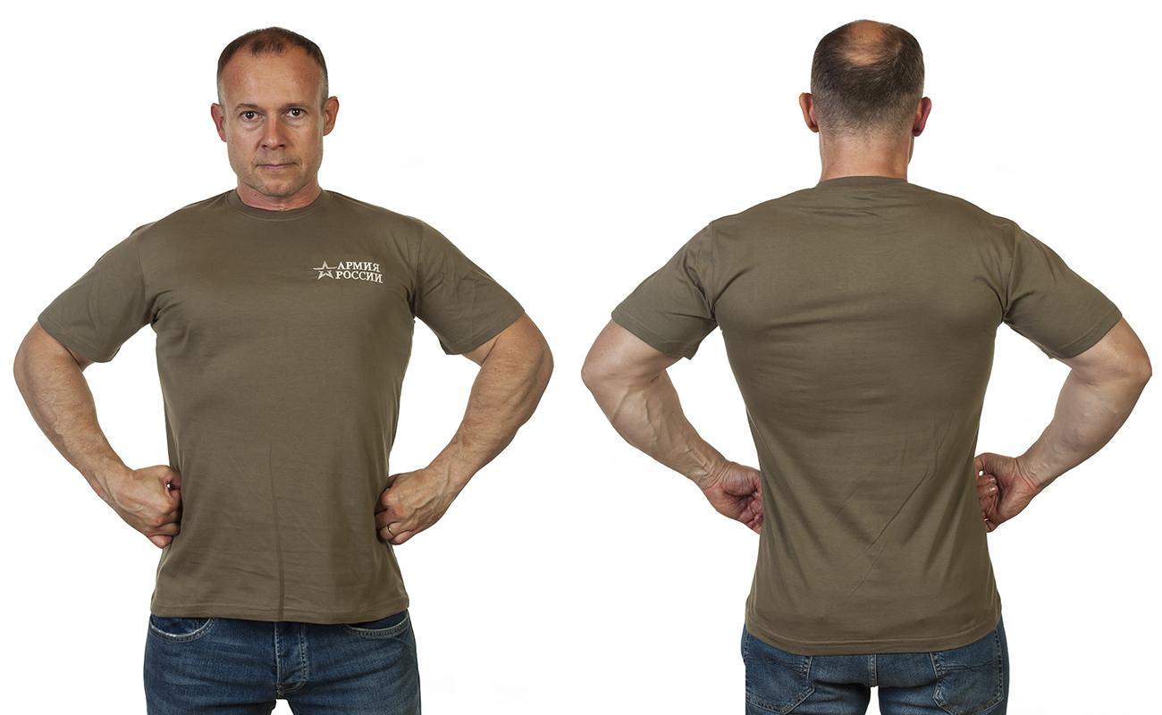 Оливковая футболка Армия России с вышивкой от Военпро