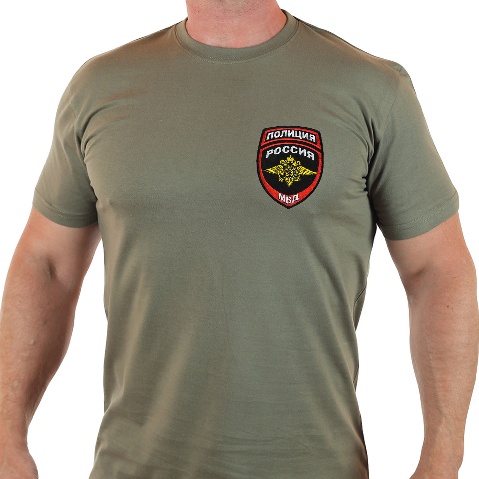 """Оливковая футболка """"Полиция""""."""
