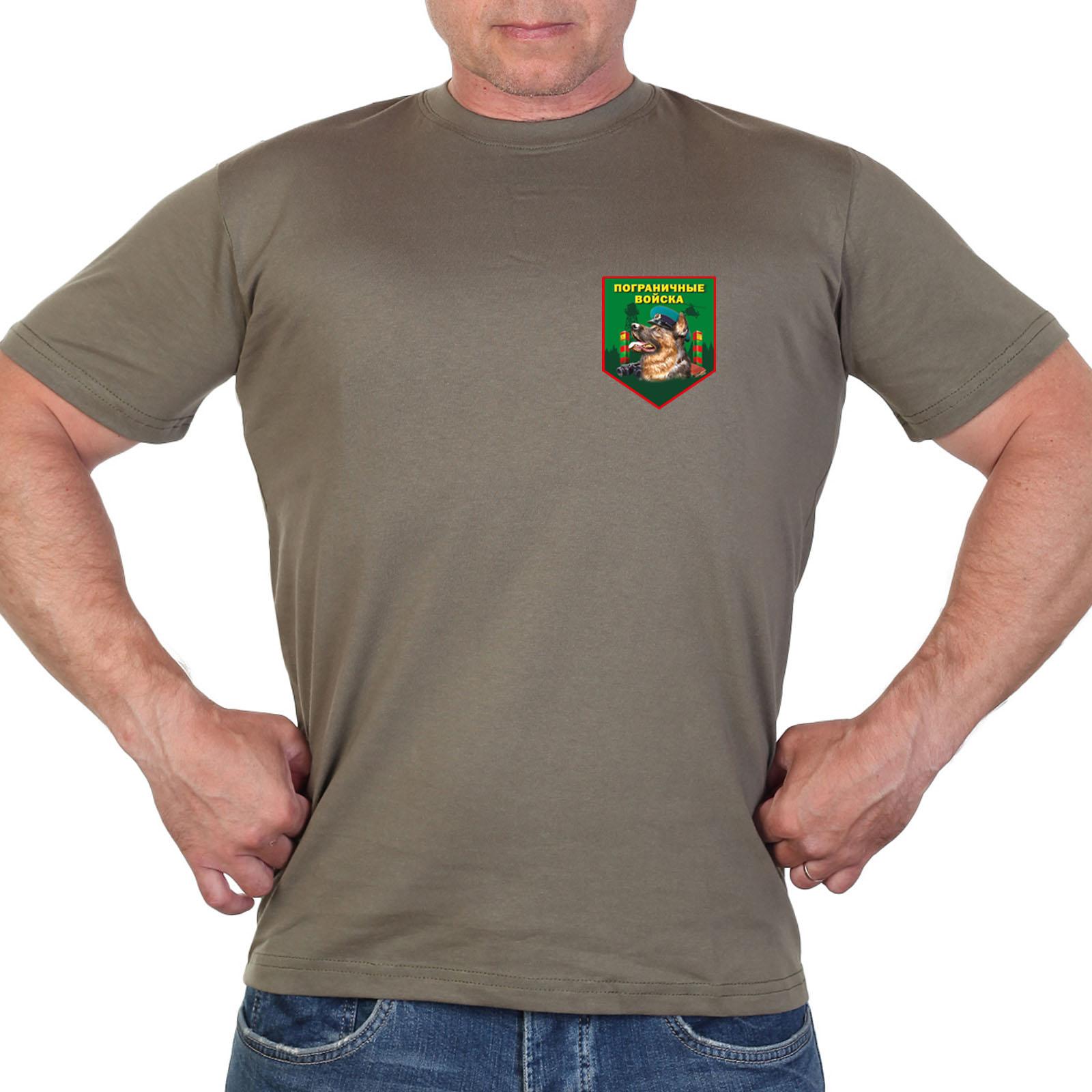 Оливковая футболка с термотрансфером Пограничные войска