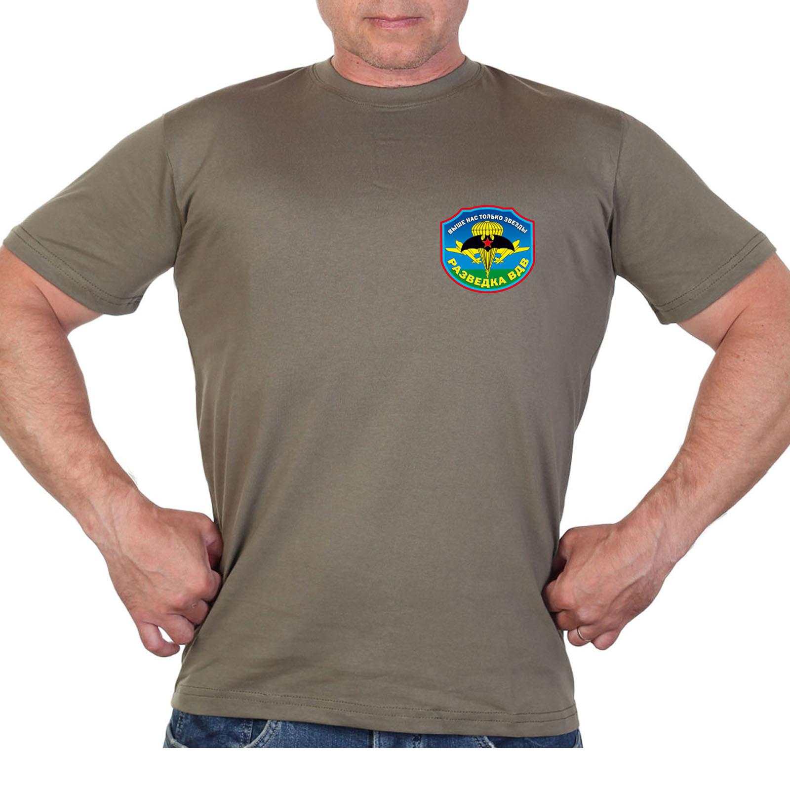 Оливковая футболка с термотрансфером Разведка ВДВ