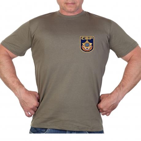 Оливковая футболка с термотрансфером СВР
