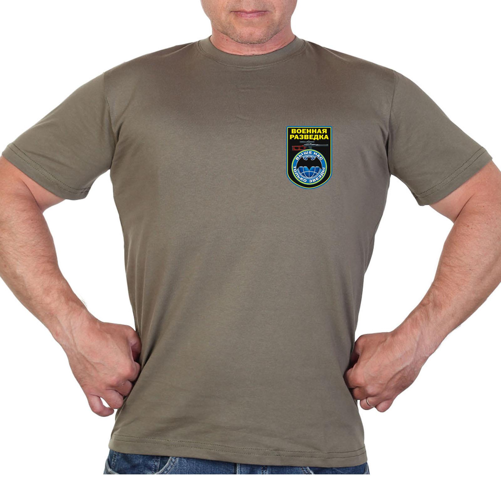 Оливковая футболка с термотрансфером Военная разведка