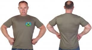 Оливковая футболка с ярким термотрансфером Разведка ВДВ
