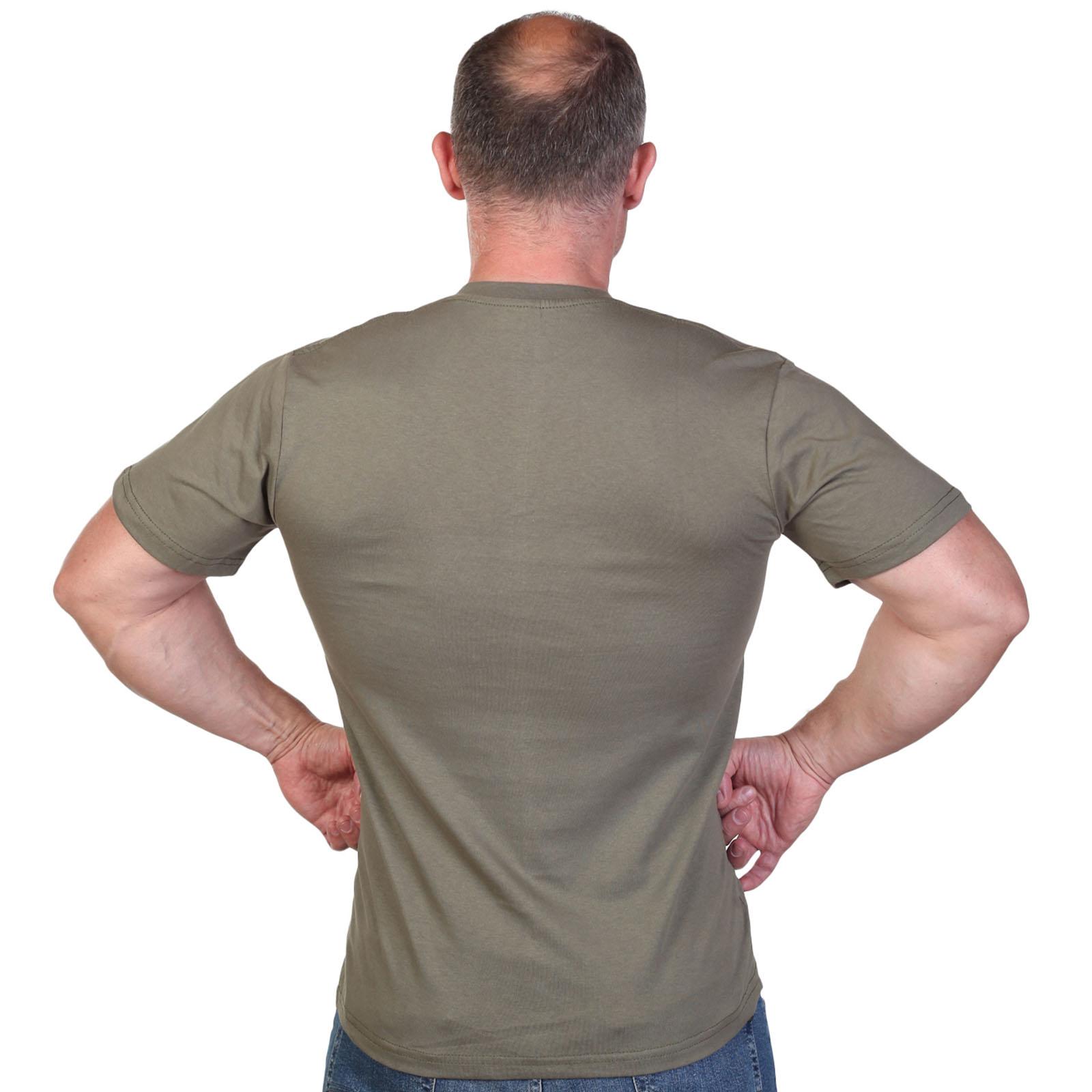 Оливковая футболка с термотрансфером Войска связи