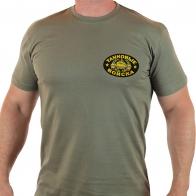 Оливковая футболка с шевроном Танковых Войск