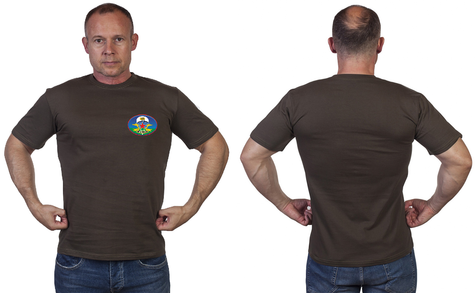 """Оливковая футболка """"ВДВ. НИКТО КРОМЕ НАС"""""""