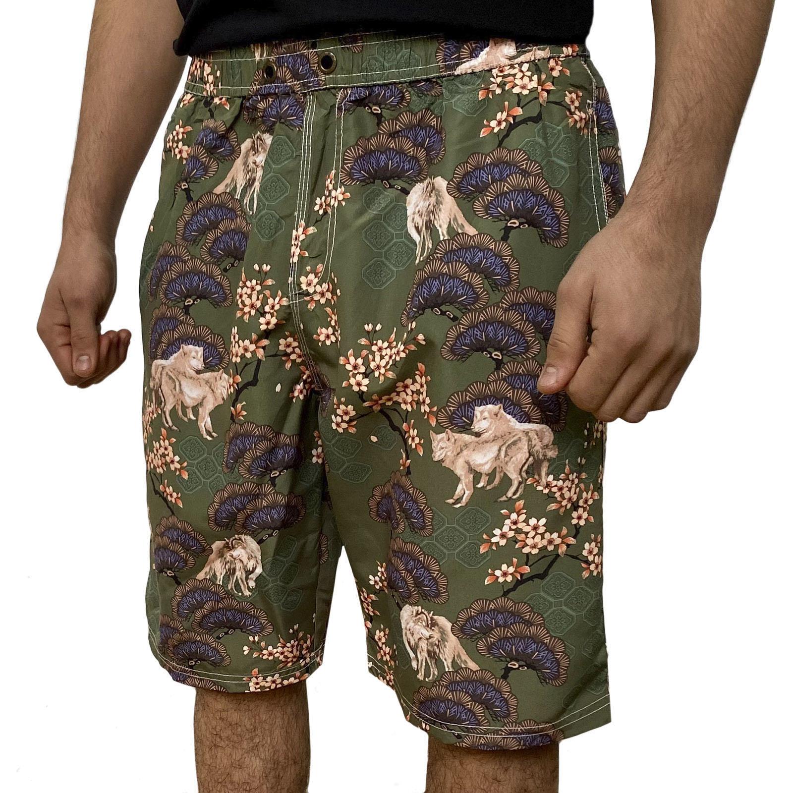 Оливковые мужские шорты с цветным принтом от Septwolves