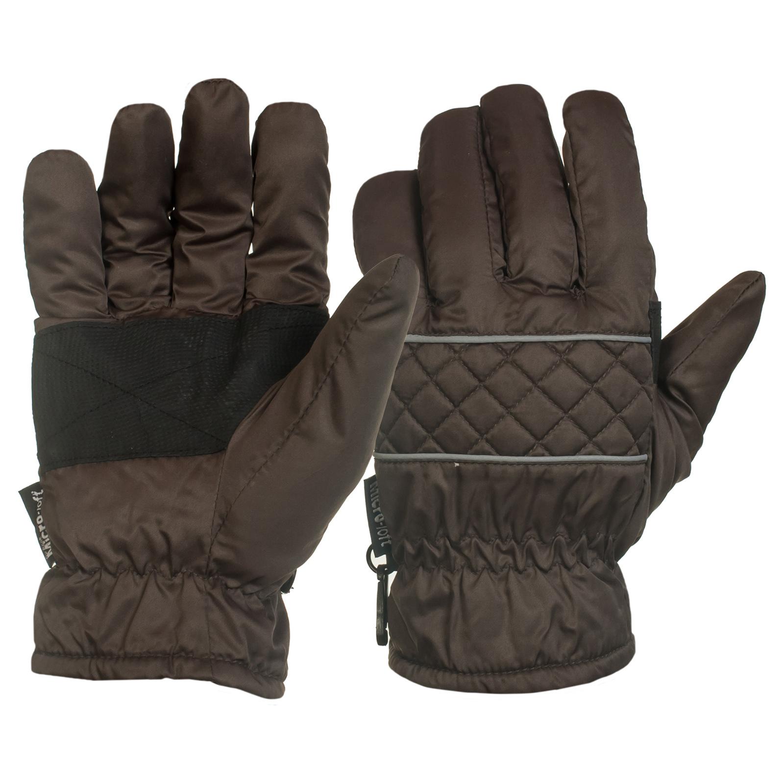 Коричневые перчатки с черными вставками на ладонях