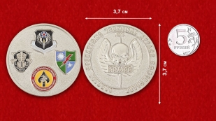 Operations Terminal Attack Controller Challenge Coin - comparative size