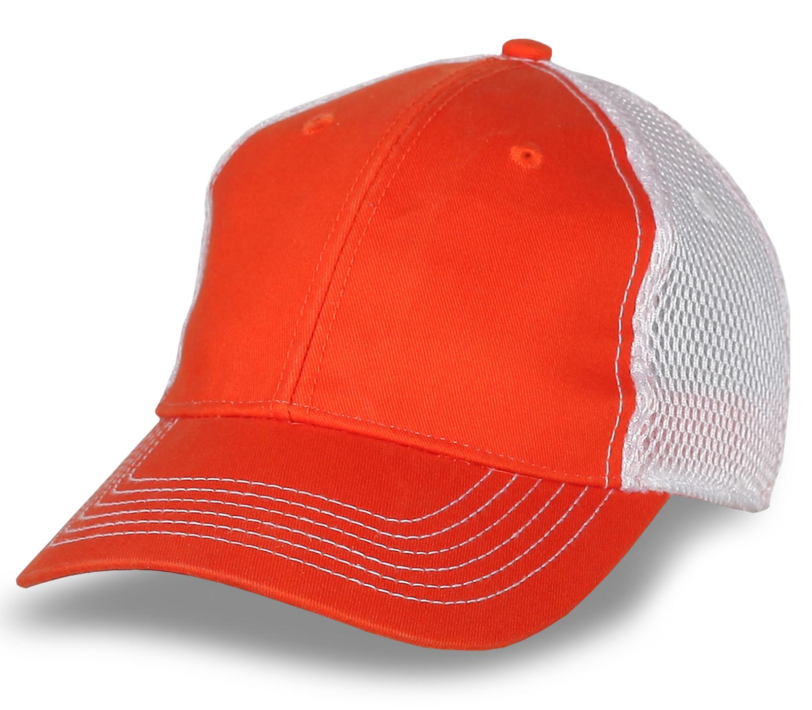 Оранжевая бейсболка под нанесение фирменных логотипов
