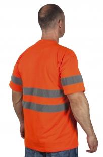 Оранжевая футболка со светоотрожающими полосами по выгодной цене