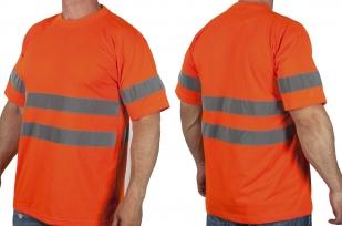Оранжевая футболка со светоотрожающими полосами с доставкой