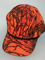 Оранжевая камуфляжная бейсболка с черным шнуром