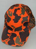 Оранжевая камуфляжная бейсболка с сеткой