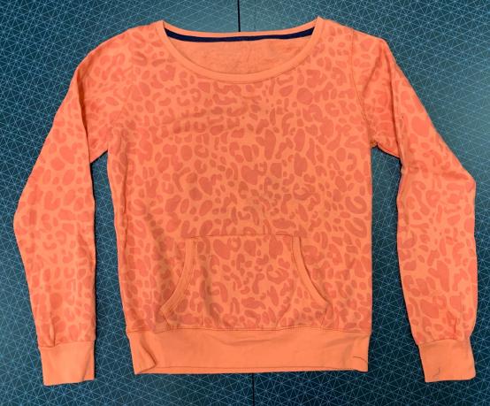Оранжевый женский свитшот с леопардовым принтом