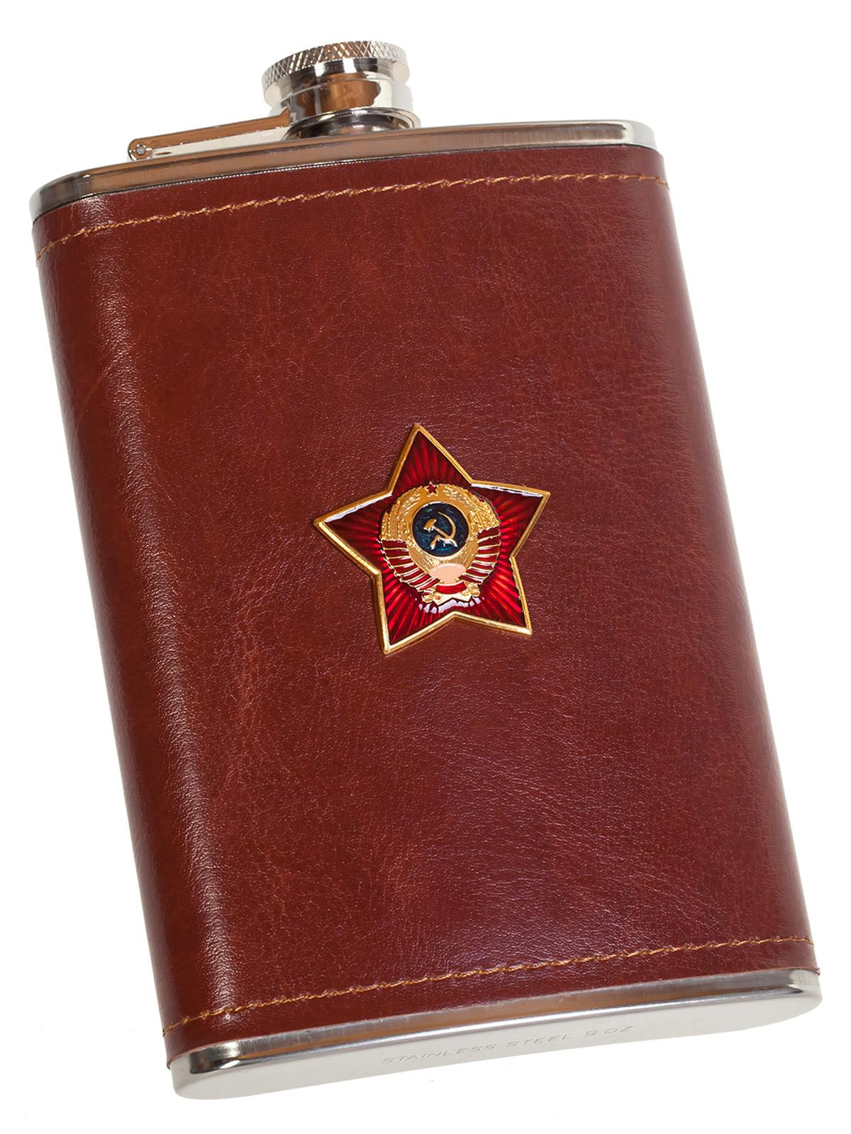 Оригинальная фляжка в чехле для патриота с накладкой СССР - купить в подарок