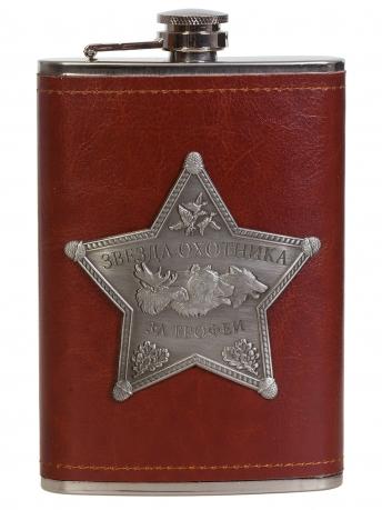 Оригинальная фляжка в чехле с накладкой Звезда Охотника