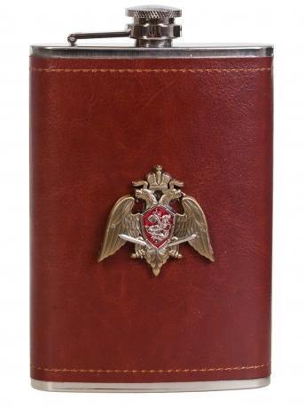 Оригинальная фляжка в кожаном чехле с накладкой Росгвардия