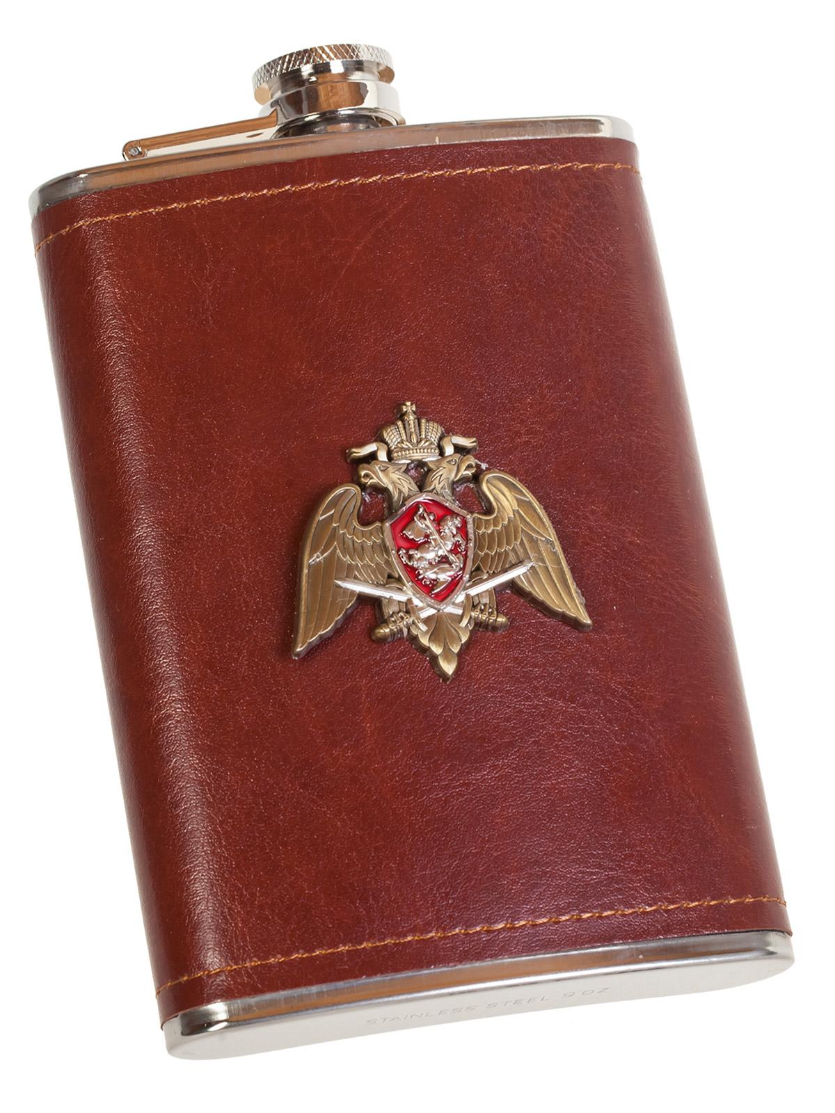 Оригинальная фляжка в кожаном чехле с накладкой Росгвардия - купить по низкой цене
