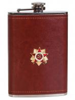 Оригинальная фляжка в коже с накладкой Орден ВОВ