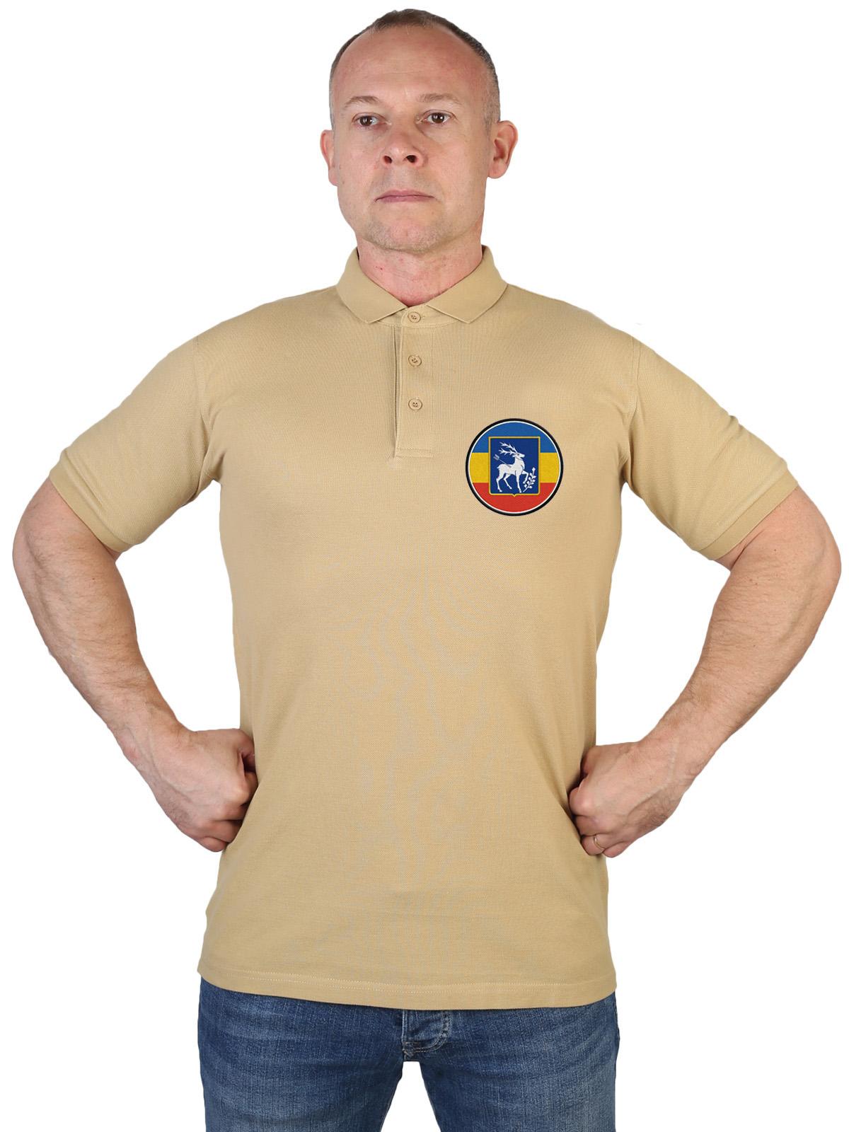 Купить оригинальную хлопковую футболку-поло с казачьей вышивкой онлайн