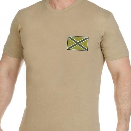 Оригинальная хлопковая футболка с вышитым полевым шевроном Новороссии