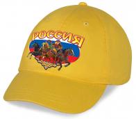 Оригинальная хлопковая патриотическая кепка с милым принтом Россия «Мишка на тройке» от дизайнеров Военпро. У нас только отменное качество!