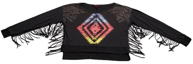 Оригинальная кофточка с цветным абстрактным принтом и бахромой бренда Rock&Roll CowGirl