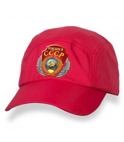 Оригинальная красная бейсболка с термотрансфером РОЖДЕН В СССР