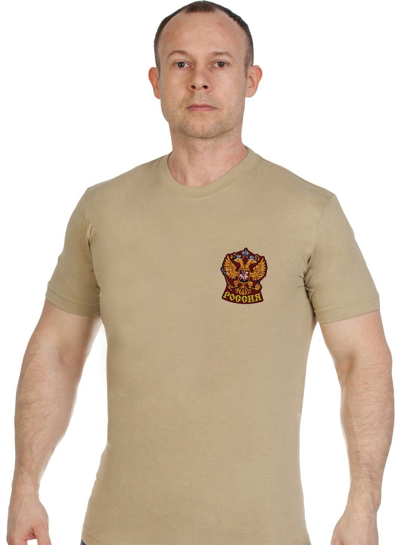 Купить оригинальную мужскую футболку с вышивкой Герб России с доставкой онлайн