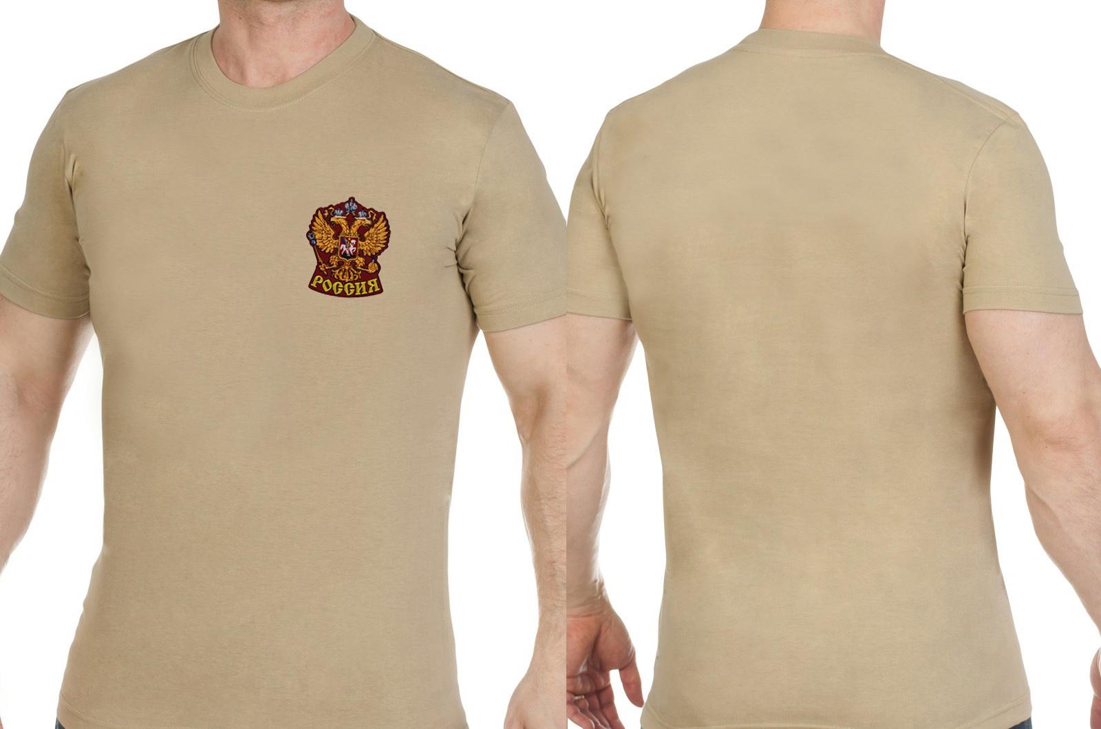 Оригинальная мужская футболка с вышивкой Герб России - купить с доставкой