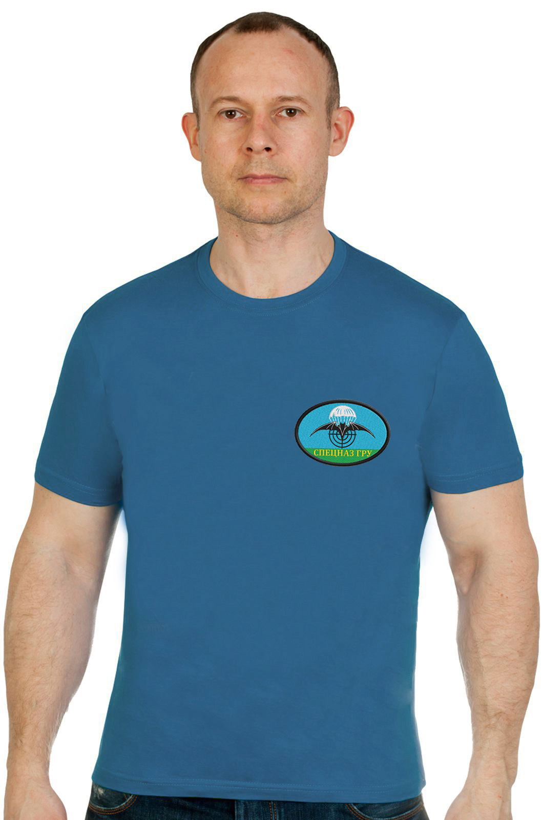 Купить оригинальную мужскую футболку с вышивкой Спецназ ГРУ в подарок любимому