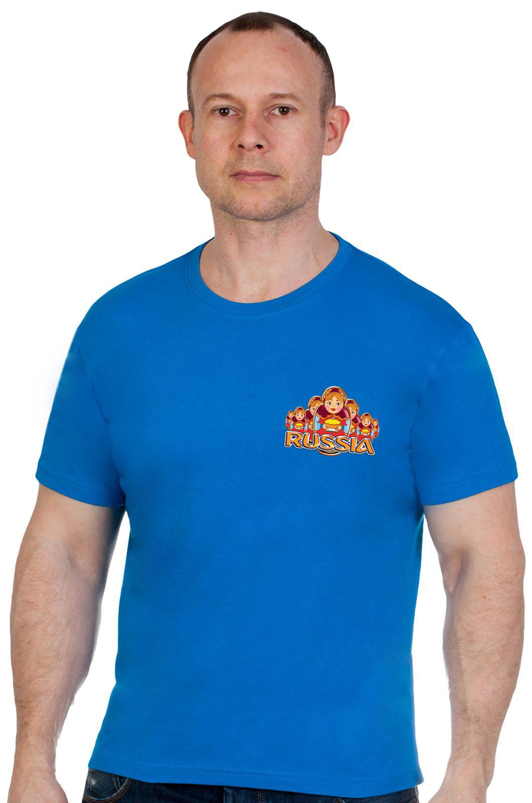Купить оригинальную синюю футболку Россия по сниженной цене