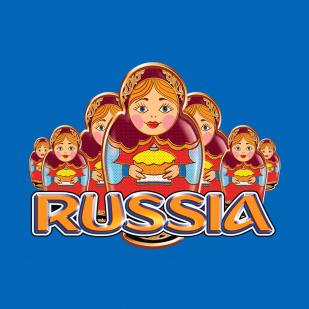 Оригинальная синяя футболка Россия