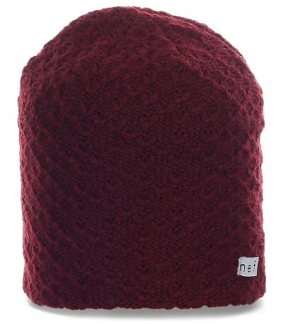 Оригинальная трендовая мужская шапка бини фактурной вязки от Neff стильного дизайна