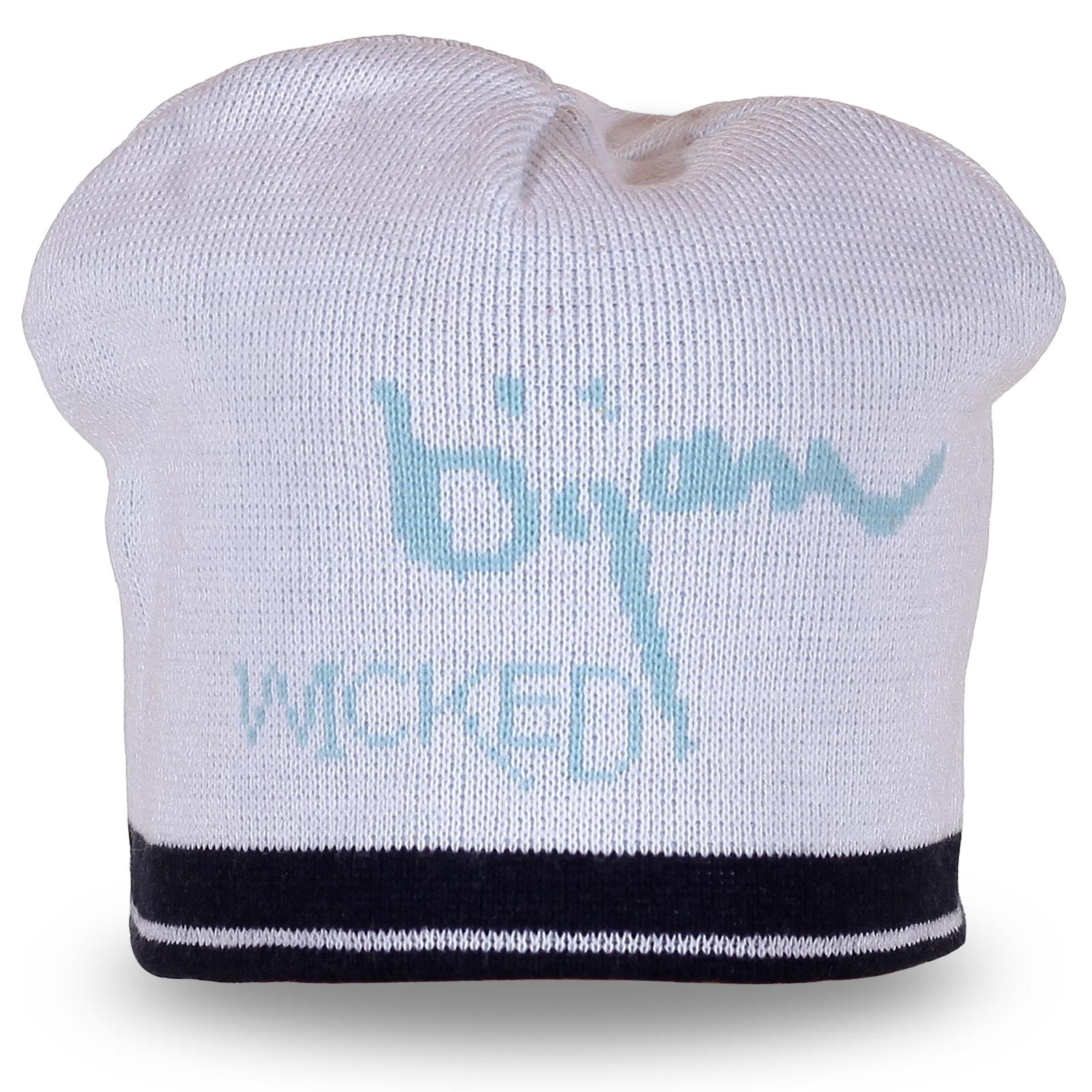 Оригинальная вязаная белая шапка с надписью Wicked