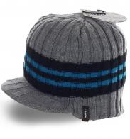 Оригинальная вязанная мужская шапка с козырьком бренда Barts на флисе