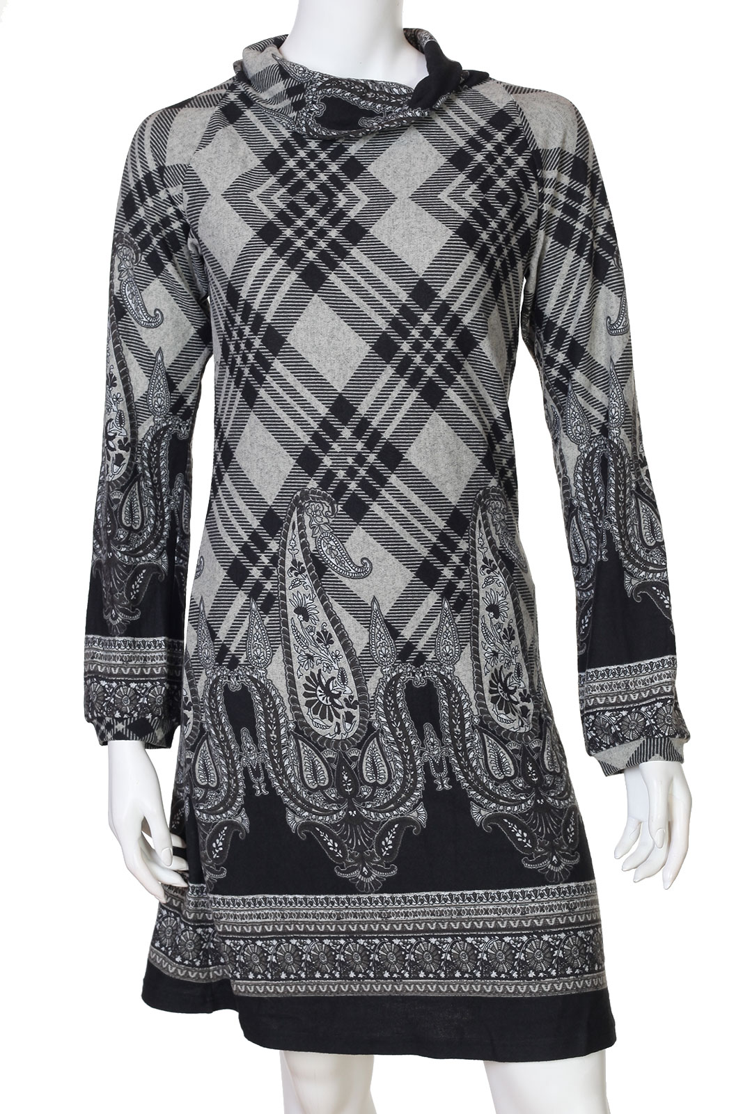 Оригинальное черно-серое миди-платье