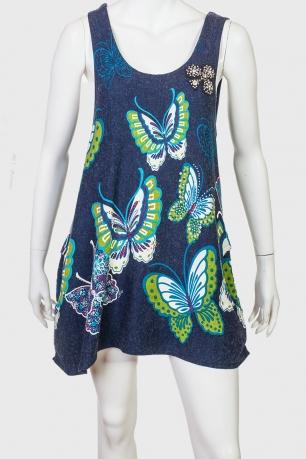 Оригинальное платье-сарафан с принтами бабочками