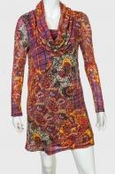 Оригинальное яркое платье с большим воротом-хомутом от ZB