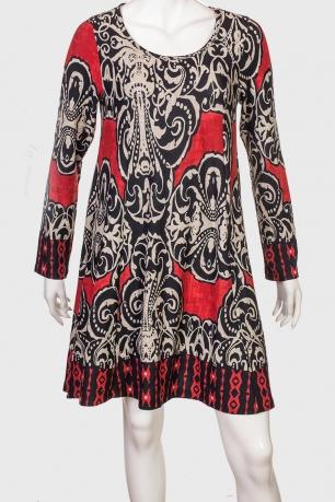 Оригинальное женское платье с ярким принтом